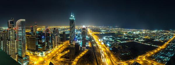 Dubai modern city night scene Stock Photo 11
