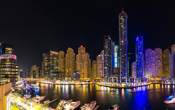 Dubai modern city night scene Stock Photo 12