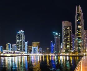 Dubai modern city night scene Stock Photo 13