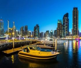 Dubai modern city night scene Stock Photo 14
