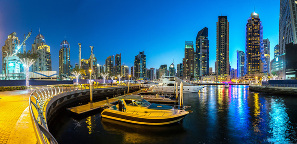 Dubai modern city night scene Stock Photo 14