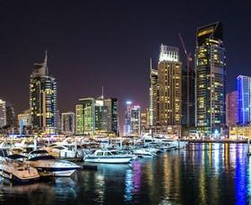 Dubai modern city night scene Stock Photo 15