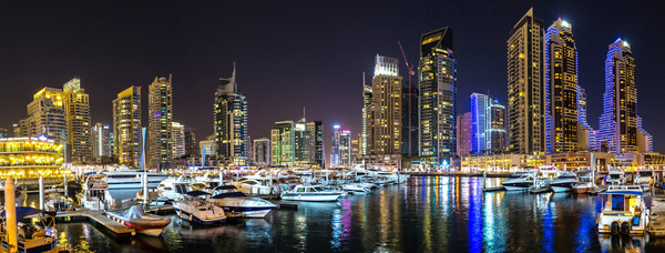 Dubai modern city night scene Stock Photo 15