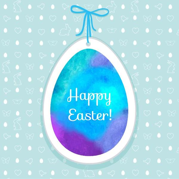 Easter egg tag with easter seamless pattern vector 03