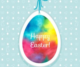 Easter egg tag with easter seamless pattern vector 04