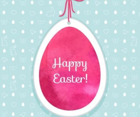Easter egg tag with easter seamless pattern vector 05