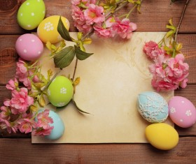 Easter eggs and flowers on the desktop Stock Photo 01