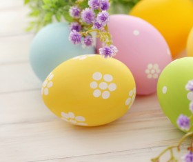 Easter eggs and flowers on the desktop Stock Photo 03