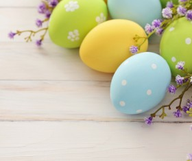 Easter eggs and flowers on the desktop Stock Photo 04