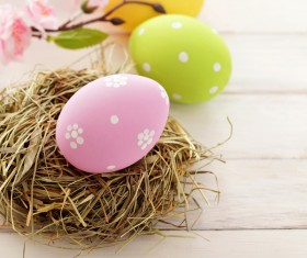 Easter eggs and flowers on the desktop Stock Photo 05