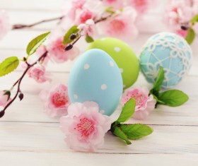 Easter eggs and flowers on the desktop Stock Photo 06