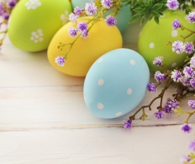 Easter eggs and flowers on the desktop Stock Photo 07