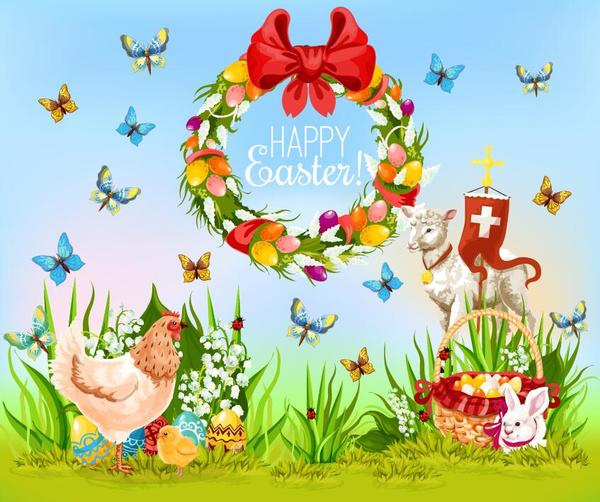 Easter poster template design vector 02