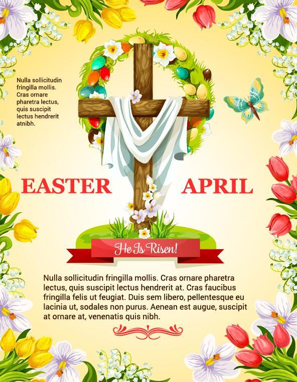 Easter poster template design vector 03