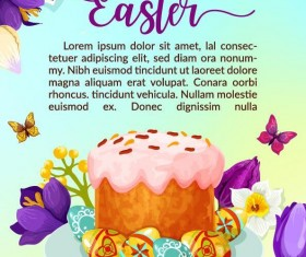 Easter poster template design vector 04