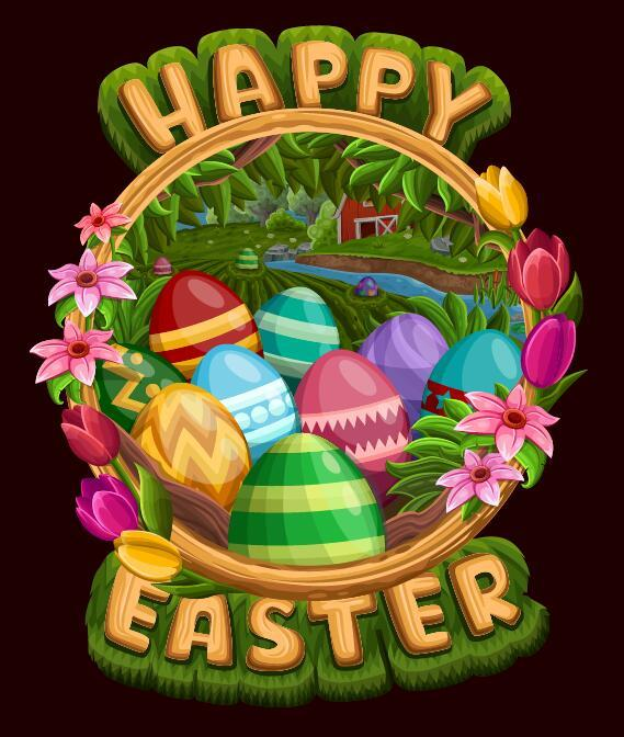 Easter poster template design vector 05