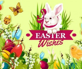 Easter poster template design vector 06