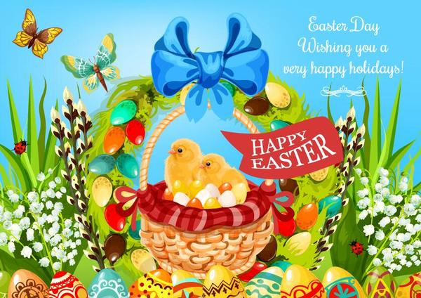 Easter poster template design vector 07