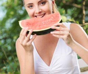 Eat watermelon girls Stock Photo 02
