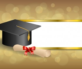 Education diploma with graduation cap and abstract background vector 01