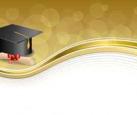 Education diploma with graduation cap and abstract background vector 02