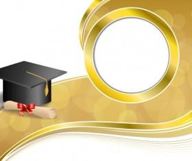 Education diploma with graduation cap and abstract background vector 03