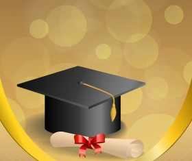 Education diploma with graduation cap and abstract background vector 04