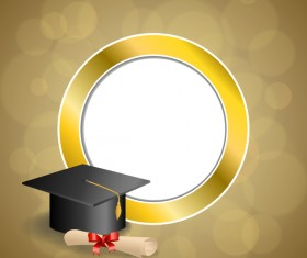 Education diploma with graduation cap and abstract background vector 05