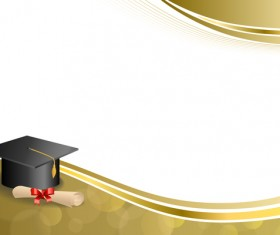 Education diploma with graduation cap and abstract background vector 07
