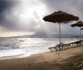 Evening beach landscape Stock Photo