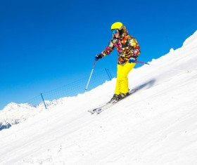 Exciting alpine skiing Stock Photo 02
