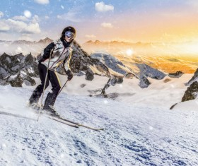 Exciting alpine skiing Stock Photo 03