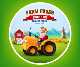 Farm and tractor labels vector 01