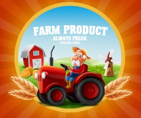 Farm and tractor labels vector 02