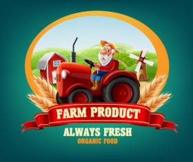 Farm and tractor labels vector 03
