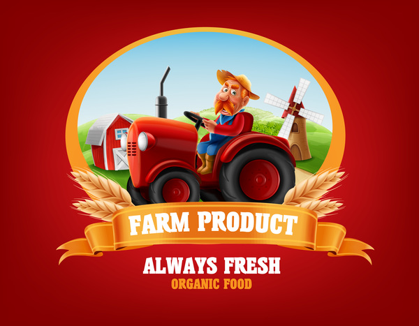 Farm and tractor labels vector 04