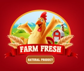 Farm fresh label with chicken vector