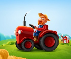 Farmer and tractor vector illustration