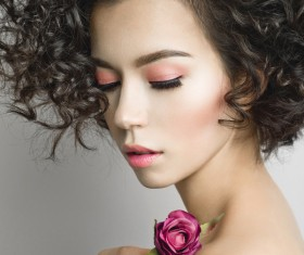 Fashion curly woman with rose flower Stock Photo 01