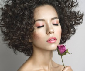 Fashion curly woman with rose flower Stock Photo 02