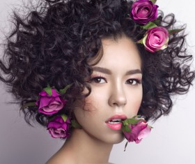 Fashion curly woman with rose flower Stock Photo 03