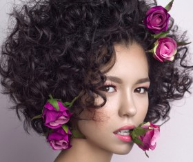 Fashion curly woman with rose flower Stock Photo 04