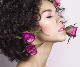 Fashion curly woman with rose flower Stock Photo 05