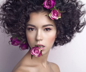 Fashion curly woman with rose flower Stock Photo 06