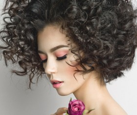 Fashion curly woman with rose flower Stock Photo 07