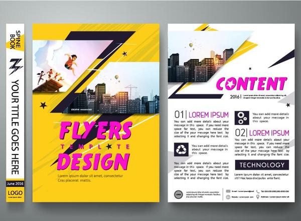 Fashion flyer with brochure cover template vector