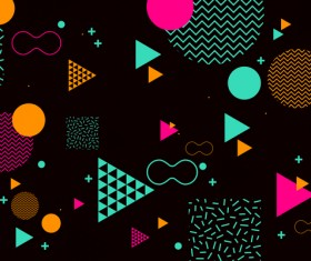 Fashion geometric shapes combination backgrounds vector 07