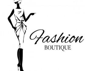 Fashion girl boutique vector design 01