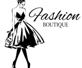 Fashion girl boutique vector design 03