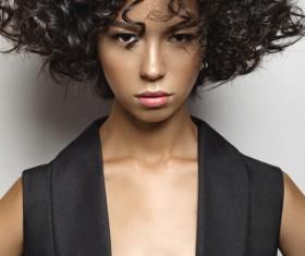 Fashion make-up curly hair woman Stock Photo 01